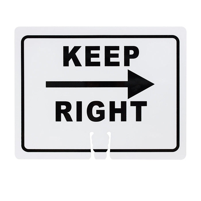 "RK Safety Traffic Cone Sign 11 Legend ""Keep Right"", 18"" Width x 14"" Height, Black on White - RK Safety"