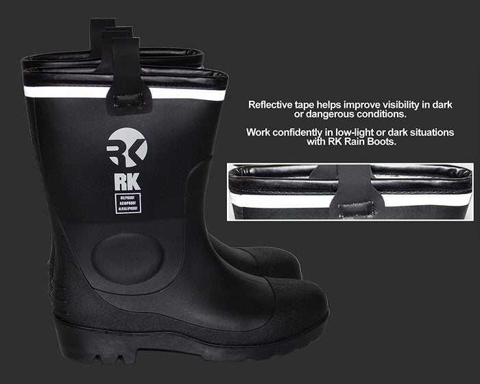 RK Mens Waterproof Rubber Sole Rain Boots - Black - RK Safety