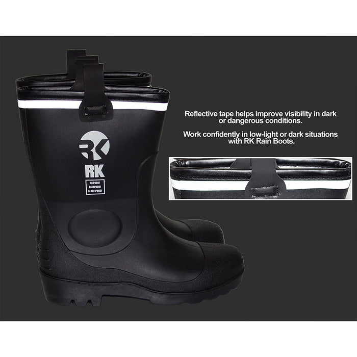 Insulated Waterproof Fur Interior Rubber Sole Winter Rain Boots-RKBW-BK-RK Guard-RK Safety