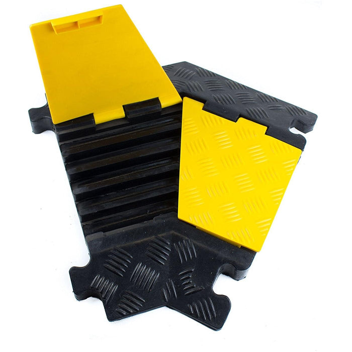 RK RK-CP-5CLT, 5Channel Modular Rubber Cable Protector Ramp-Left turn - RK Safety