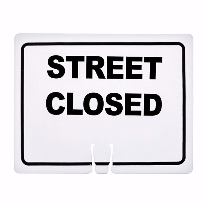 "RK Safety Traffic Cone Sign 13 Legend ""Street closed"", 18"" Width x 14"" Height, Black on White - RK Safety"
