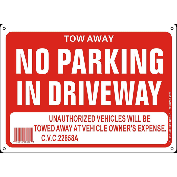 "RK OSHA Safety Sign, Legend ""Tow Away No Parking in Driveway"" - RK Safety"