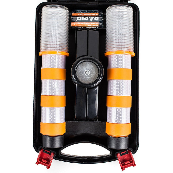 Reusable LED Emergency Roadside 2 Beacon Flares Kits - Orange - RK Safety