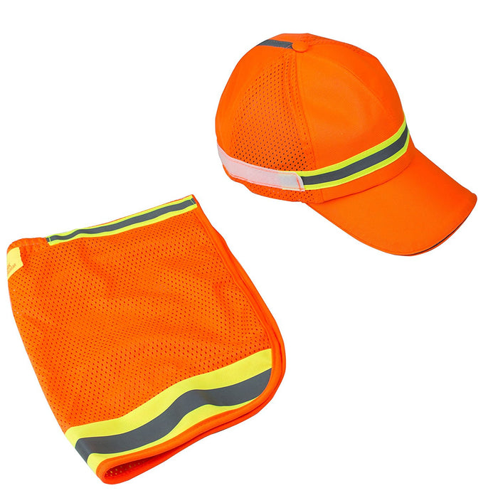 High Performance Hat/ Cap with Neck Shade - Orange-New York Hi-Viz Workwear-RK Safety