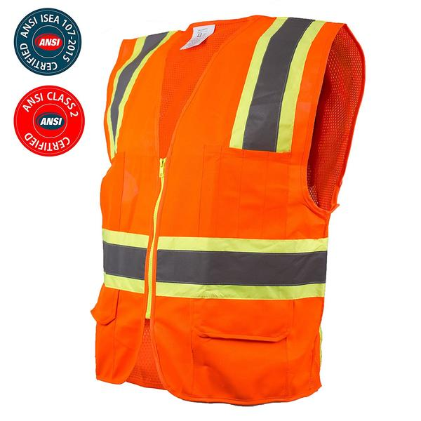 Class 2 Two Tone High Visibility Safety Vest- 9811&9812 (Orange, Lime) - RK Safety