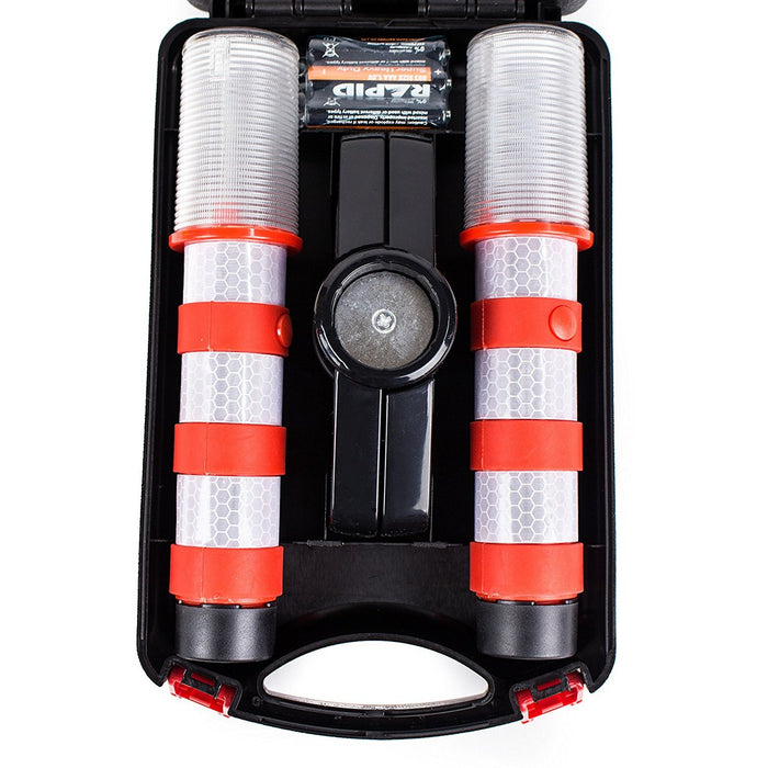 Reusable LED Emergency Roadside 2 Beacon Flares Kits - Red - RK Safety