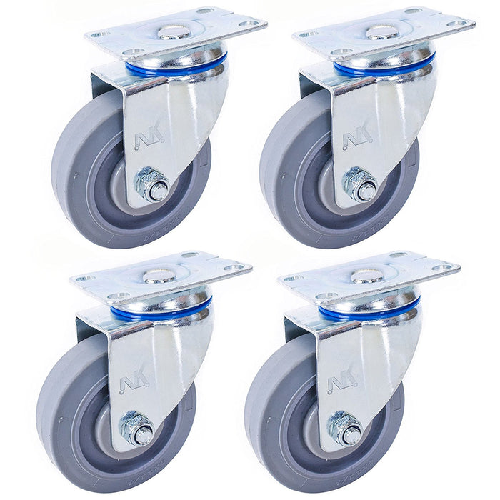 "Set of 4 NK Swivel Plate Caster with 4"" x 1-1/4"" Non Marking Soft Gray Rubber TPR Wheel - RK Safety"