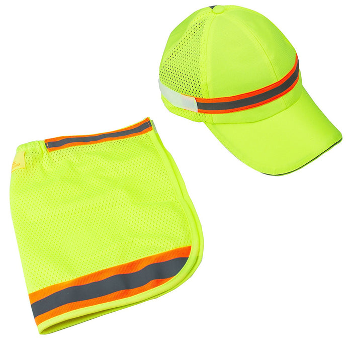 High Performance Hat/ Cap with Neck Shade - Lime - RK Safety