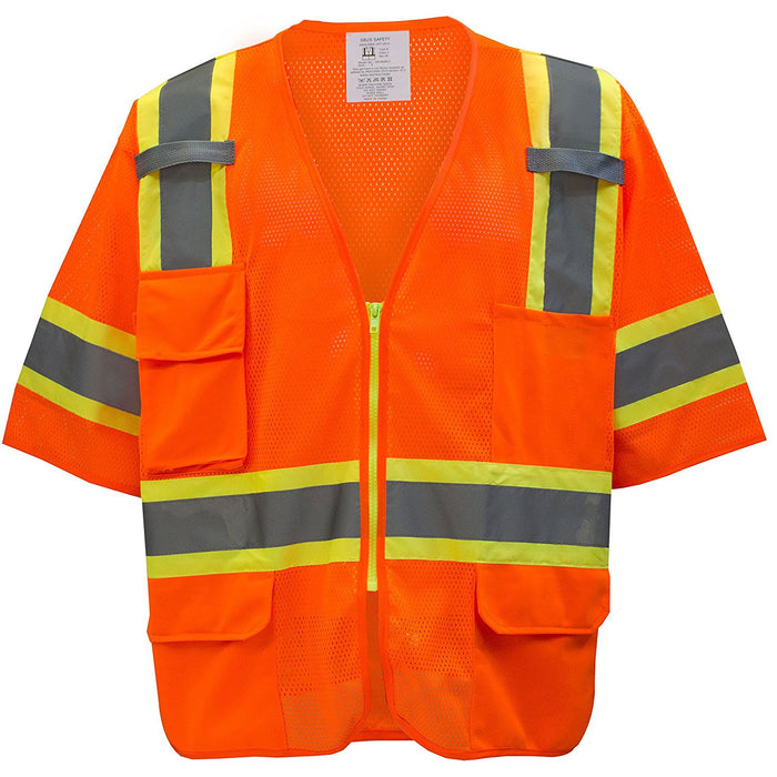 Class 3 Two Tone Hi Viz Breathable Polyester Mesh Vest - MV7811&MV7812 (Orange, Lime)-New York Hi-Viz Workwear-RK Safety