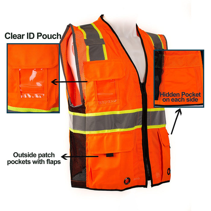 RK Safety Class 2 D-Ring Two Tone Mesh Vest - P6611& P6612 (Orange, Lime)-New York Hi-Viz Workwear-RK Safety