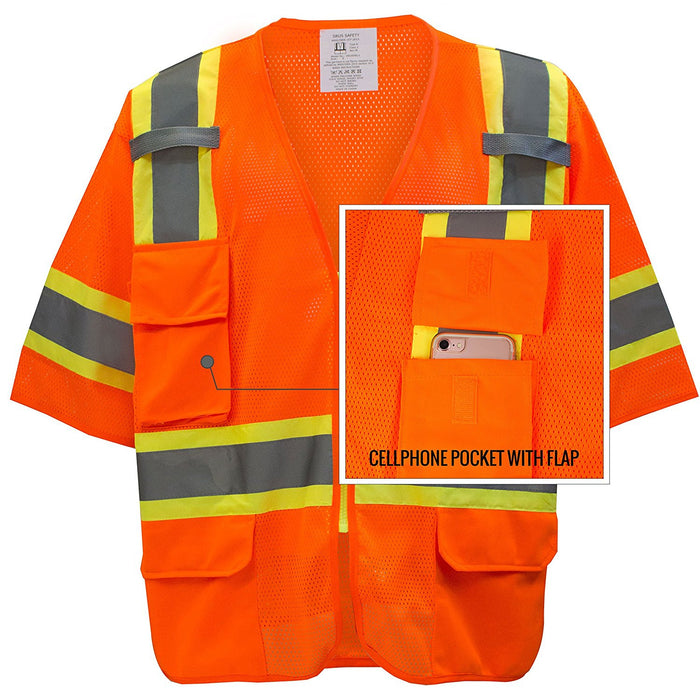 Class 3 Two Tone Hi Viz Breathable Polyester Mesh Vest - MV7811 - RK Safety