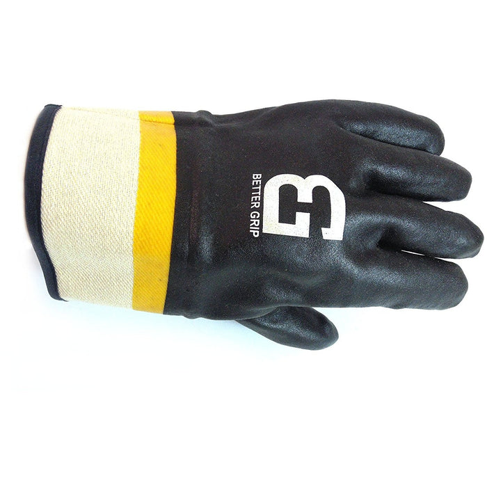 Better Grip® Sandy finished PVC Coated-Supported Glove - BG105BLK/YEL - RK Safety