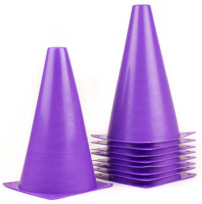 (Set of 10) RK Sports Plastic Sport Cones - Purple - RK Safety