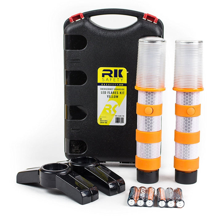 Reusable LED Emergency Roadside 2 Beacon Flares Kits - Orange-RK Safety-RK Safety