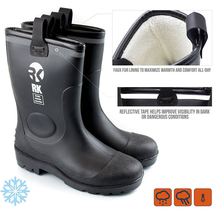 Insulated Waterproof Fur Interior Rubber Sole Winter Rain Boots-RKBW-BK - RK Safety