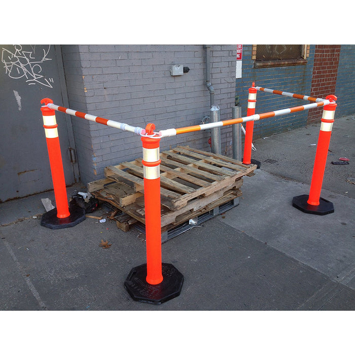 "(Set of 5) Traffic 42"" Delineator Posts with 13 lbs Bases, Orange - RK Safety"