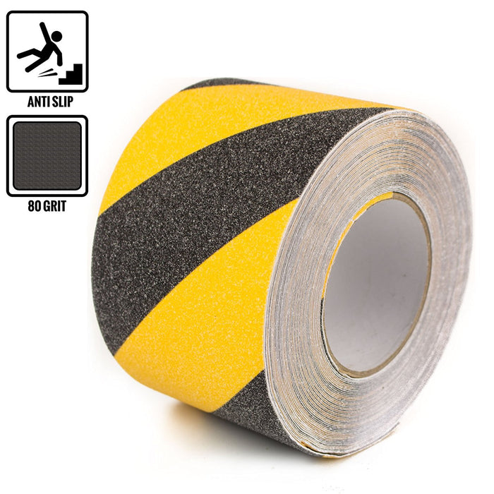 "RK Safety 4"" X 60' Black & Yellow Color Anti Slip Track Tape - RK Safety"