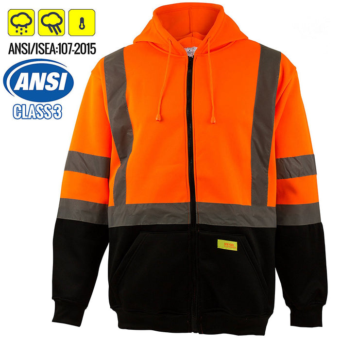ANSI Class 3 High Visibility Sweatshirt Full Zip Hooded -H9011-New York Hi-Viz Workwear-RK Safety