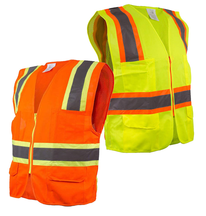 Class 2 Two Tone High Visibility Safety Vest- 9811&9812 (Orange, Lime)-New York Hi-Viz Workwear-RK Safety