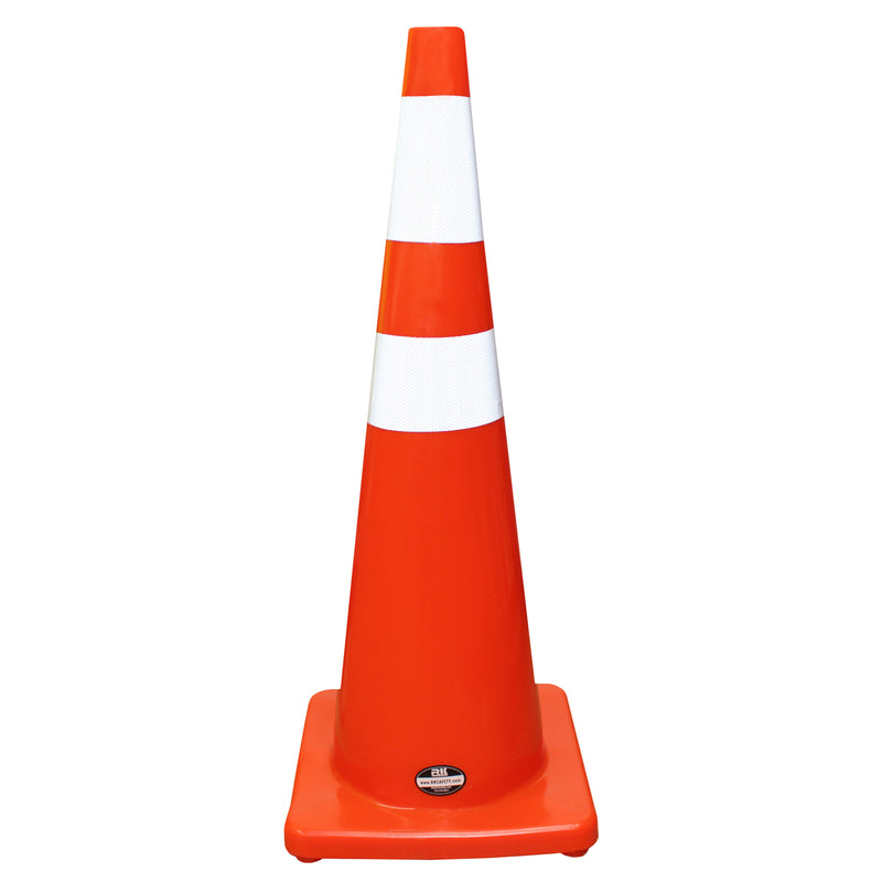 "RK Safety 36"" Orange Traffic PVC Cones with 6"" + 4"" Reflective Collars, Orange Base-RK Safety-RK Safety"