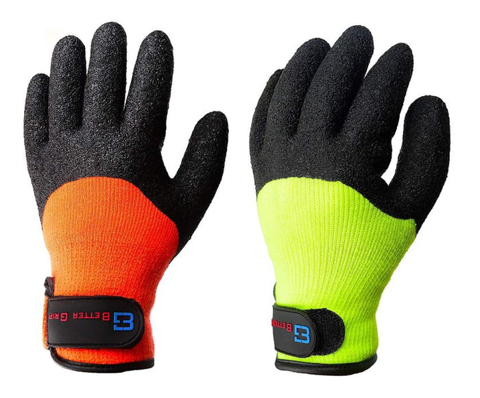 Better Grip BGWLAC3/4V Safety Winter Insulated Crinkle Finished 3/4 Latex Coated Work Gloves, 3 Pairs/ Pack ( Hi-Vis Orange with Velcro)-RK Safety-RK Safety