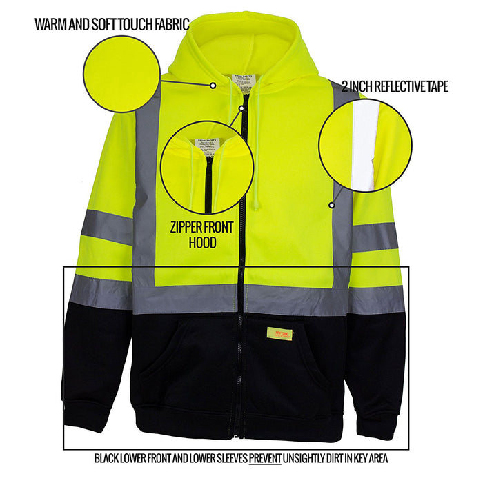 ANSI Class 3 High Visibility Sweatshirt Full Zip Hooded -H9012-New York Hi-Viz Workwear-RK Safety