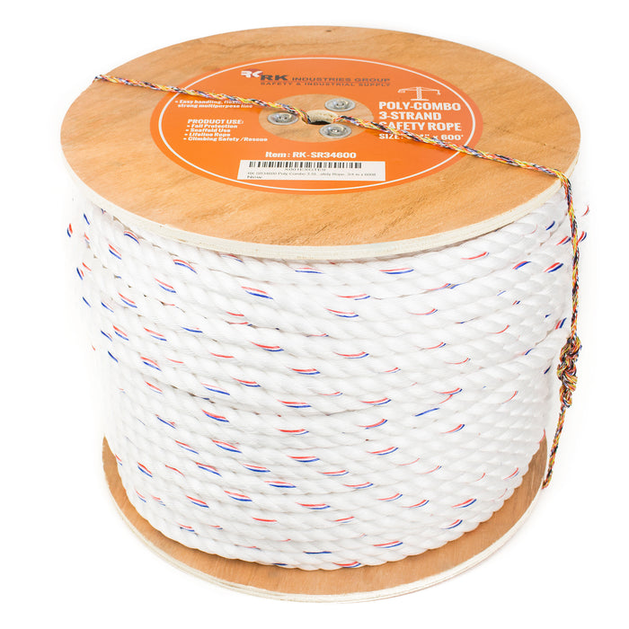 RK SR34600 Poly-Combo 3-Strand Safety Rope, 3/4 in x 600 ft - RK Safety