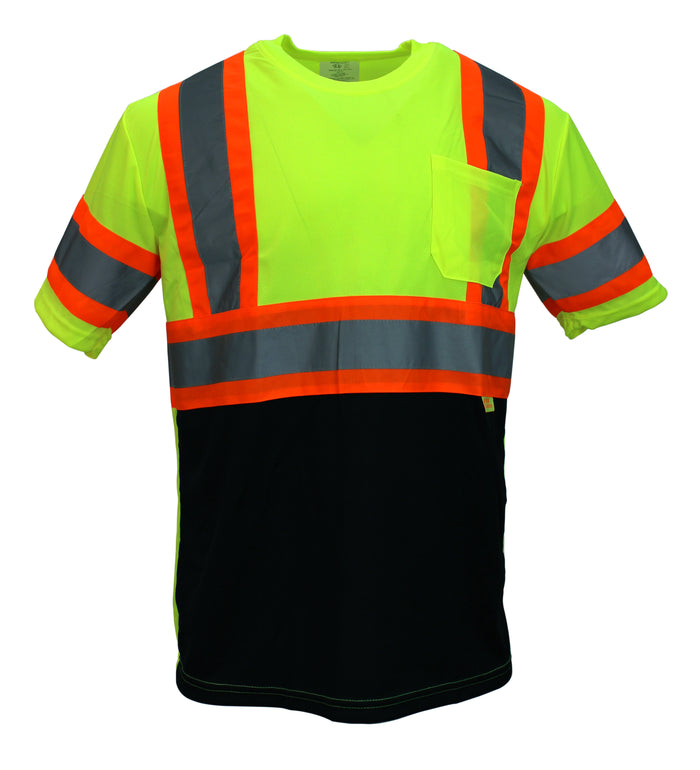 NY BFS-T5511,2 High-Visibility Class 3 T Shirt with Moisture Wicking Mesh Birdseye, Black Bottom (Lime, Orange)-RK Safety-RK Safety