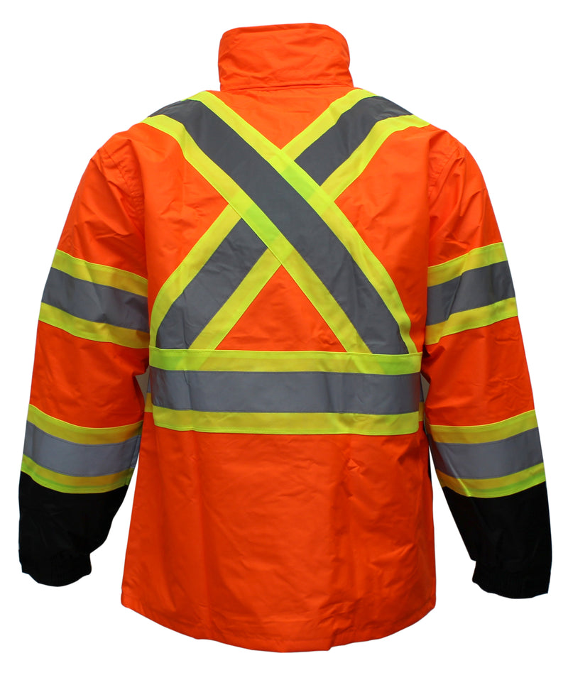 RK Safety RW-CLA3-TLM55/TOR77 Class 3 Rain suit, Jacket, Pants High Visibility Reflective Black Bottom with X Pattern-RK Safety-RK Safety