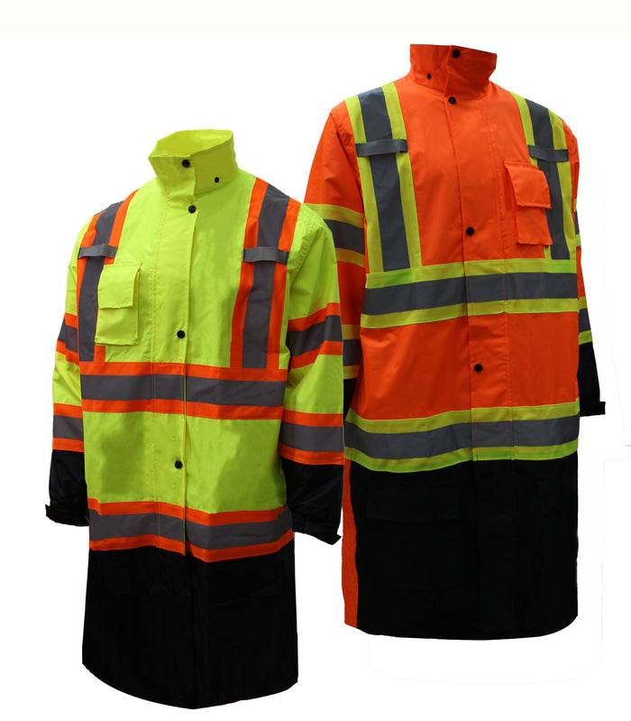 RK Safety RC-CLA3-TLM66/TOR88 Class 3 Rainwear Reflective Hi-Viz Black Bottom Long Rain Coat with X pattern-RK Safety-RK Safety