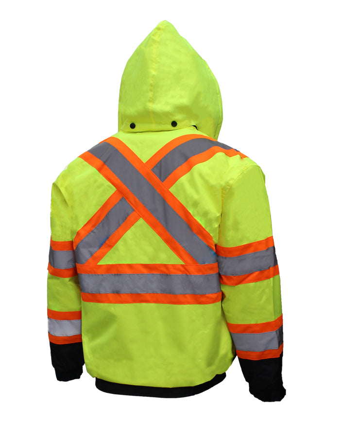 New York Hi-Viz Workwear WJX7012 Men's ANSI Class 3 High Visibility Bomber Safety Jacket with X pattern, Waterproof (Lime)-RK Safety-RK Safety