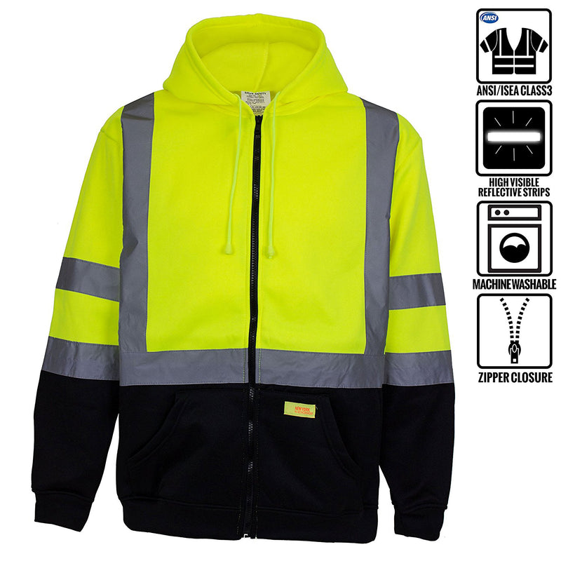 Class 3 High Visibility Sweatshirt , Full Zip Hooded, Fleece - H6612-RK Safety-RK Safety