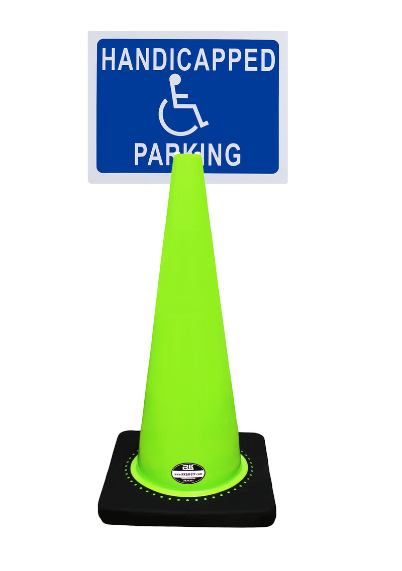 "RK-Safety 28"" Lime Cone, Black base without Reflective Tape, Plus Cone Sign 40 ""Handicapped Parking"", (Cone-4 ea + Cone Sign-4 ea)-RK Safety-RK Safety"
