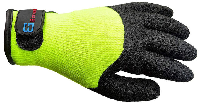 Better Grip BGWLAC3/4V Safety Winter Insulated Crinkle Finished 3/4 Latex Coated Work Gloves, 3 Pairs/ Pack (Hi-Vis Lime with Velcro)-RK Safety-RK Safety