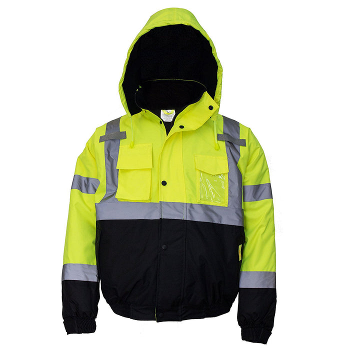 Men's ANSI Class 3 High Visibility Bomber Safety Jacket - WJ9012-New York Hi-Viz Workwear-RK Safety