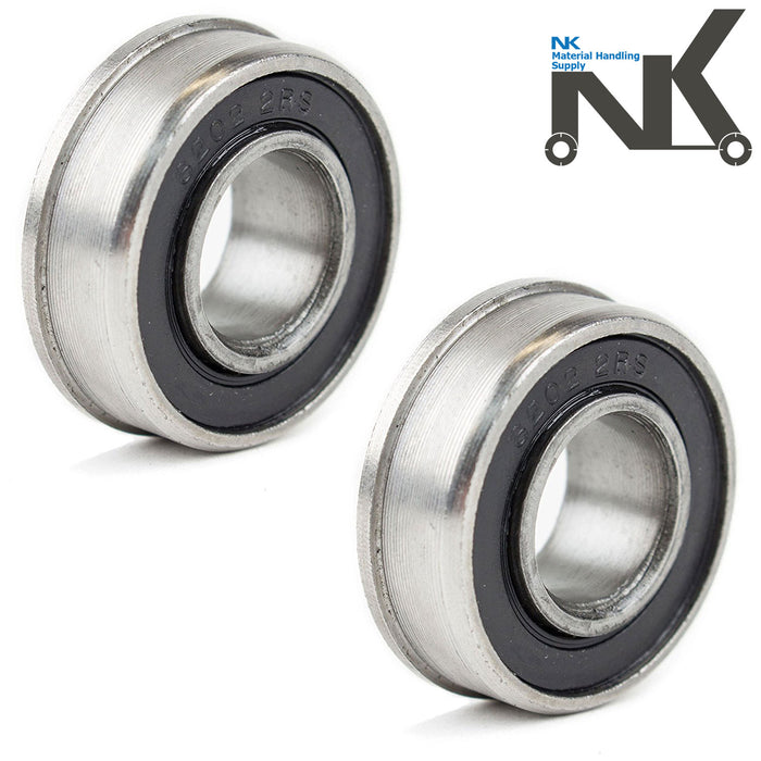 "(Set of 2) NK Hand Truck Tire Flanged Precision Ball Bearings for 5/8"" ID x 1-3/8"" OD - RK Safety"