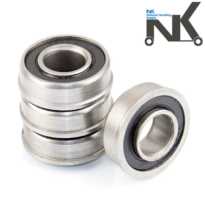 "(Set of 4) NK Hand Truck Tire Flanged Precision Ball Bearings for 5/8"" ID x 1-3/8"" OD-NK-RK Safety"