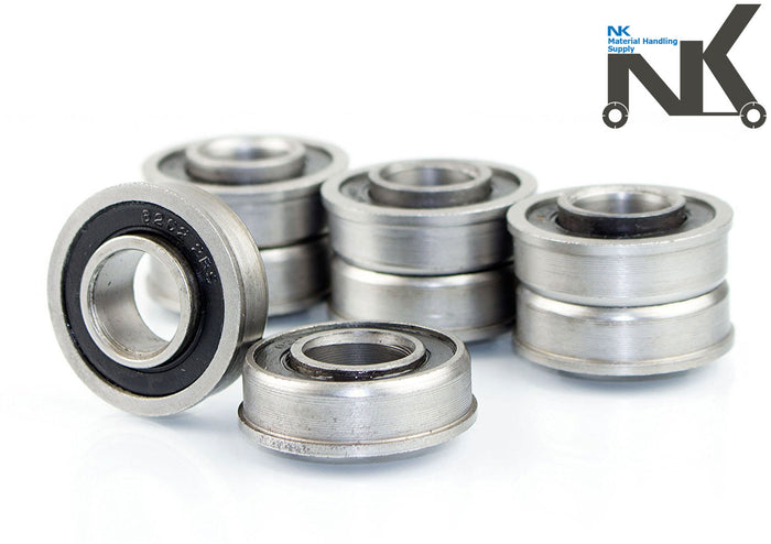 "(Set of 8) NK Hand Truck Tire Flanged Precision Ball Bearings for 5/8"" ID x 1-3/8"" OD-NK-RK Safety"