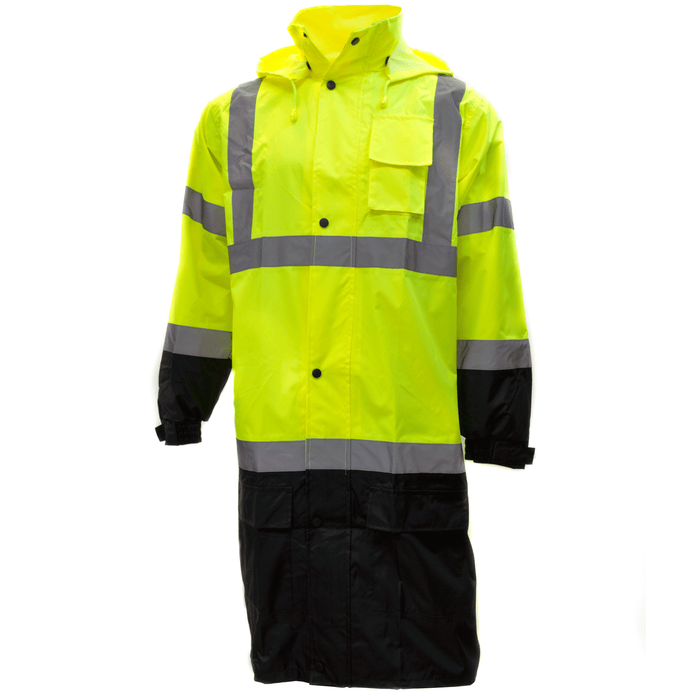 Class 3 Reflective Hi-Viz Black Bottom Long Rain Coat (Lime/Orange)-RK Safety-RK Safety