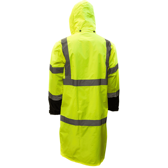 Class 3 Reflective Hi-Viz Black Bottom Long Rain Coat RC-CLA3-LM22 - RK Safety