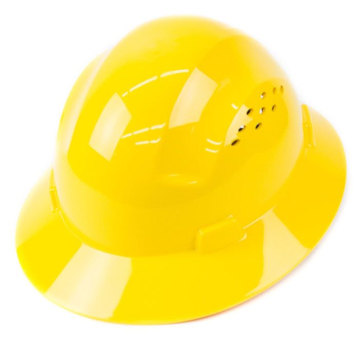 RK Safety RK-HP24-YE Yellow Hard Hat Brim Style with 4 Point Ratchet Suspension - RK Safety