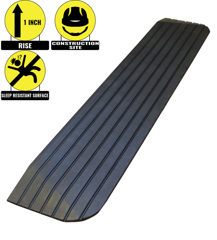 "RK Safety RK-RTR01 1"" Rise Solid Rubber Power WheelChair Scooter Threshold Ramp - RK Safety"
