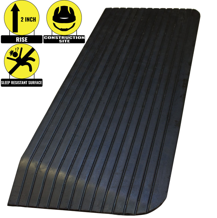 "RK Safety RK-RTR03 2"" Rise Solid Rubber Power WheelChair Scooter Threshold Ramp - RK Safety"