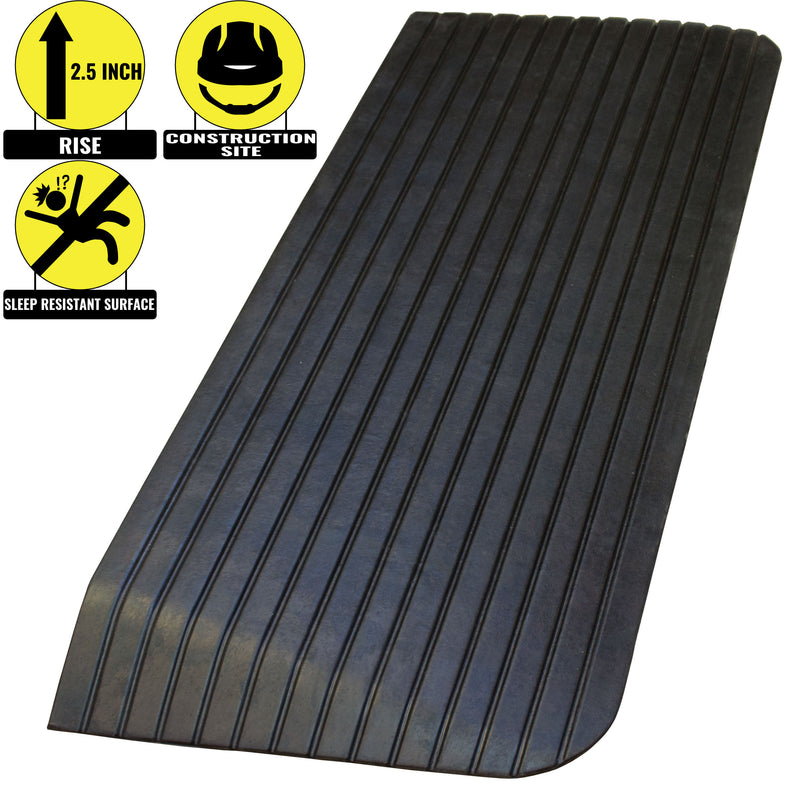 RK Safety RK-RTR01 1 Rise Solid Rubber Power Wheelchair Scooter Threshold Ramp Set of 3