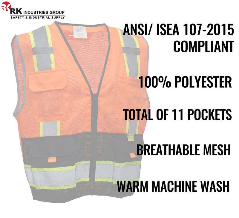 RK Safety P5511/P5512 Class 2 High Visible Two Tone Reflective Strips Breathable Mesh Vest, Pockets Harness D-Ring Pass Thru, ANSI/ISEA, Construction Motorcycle Traffic Emergency X pattern (Orange/Lime)-RK Safety-RK Safety