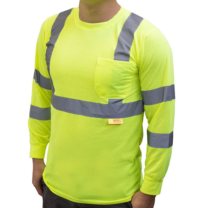 Class 3 High Vis Reflective Long Sleeve Safety Shirt - L9091,2-New York Hi-Viz Workwear-RK Safety