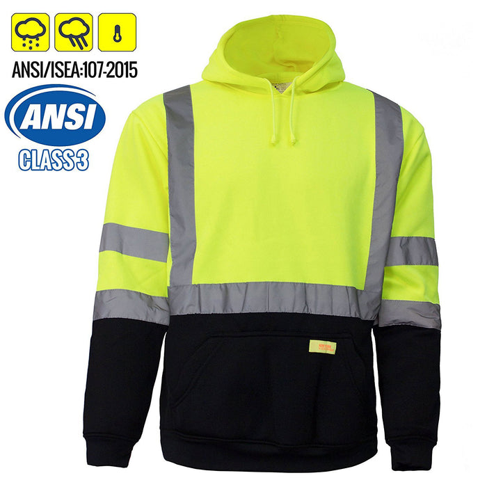 Class 3 High Visibility Sweatshirt, Hooded Pullover - H8312-New York Hi-Viz Workwear-RK Safety