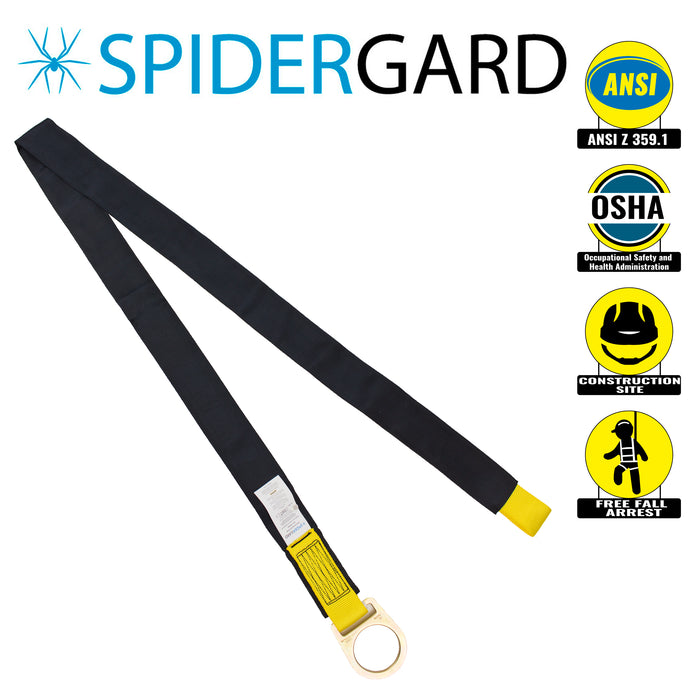 Spidergard SPA202 Fall Protection 6-Foot Loop and D-Ring End Concrete Anchor Strap with Protective Sheathing, Yellow Black-Spidergard-RK Safety