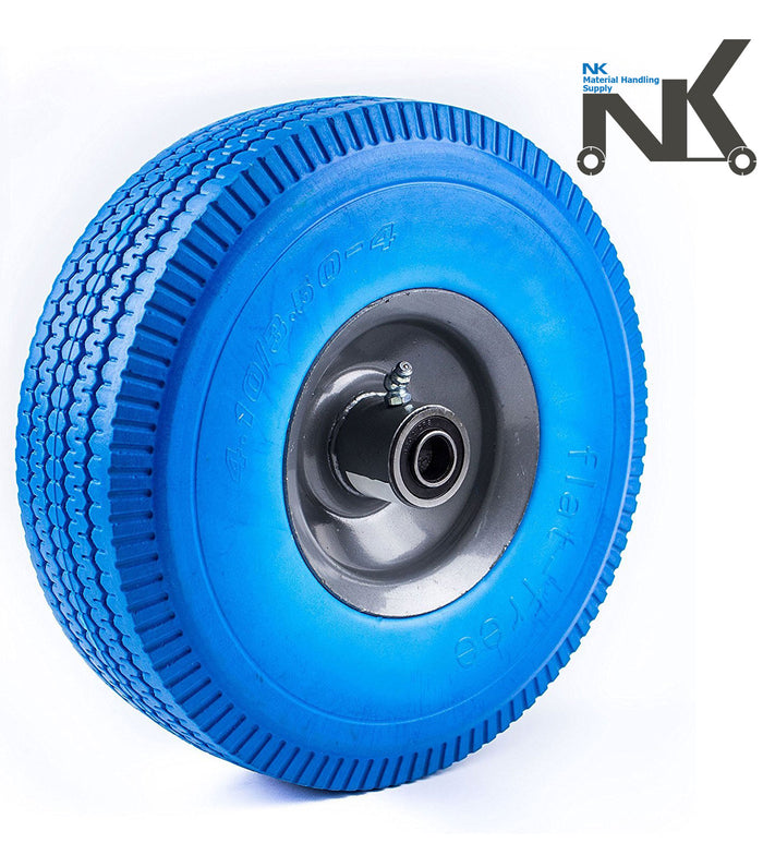 "NK 10"" x 3.5"" Solid Rubber Flat Free Tubeless Wheel -WFFBL10-NK-RK Safety"