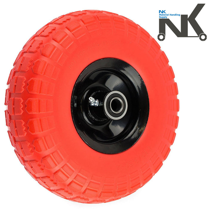 "NK 10"" x 3.5"" Solid Rubber Flat Free Tubeless Wheel -WFF10OR-NK-RK Safety"